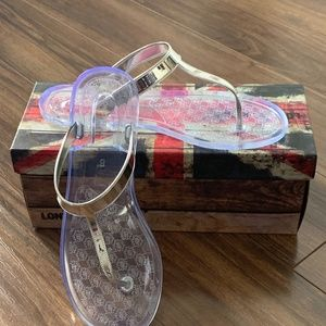 Silver Mirror Clear Jelly Sandals
